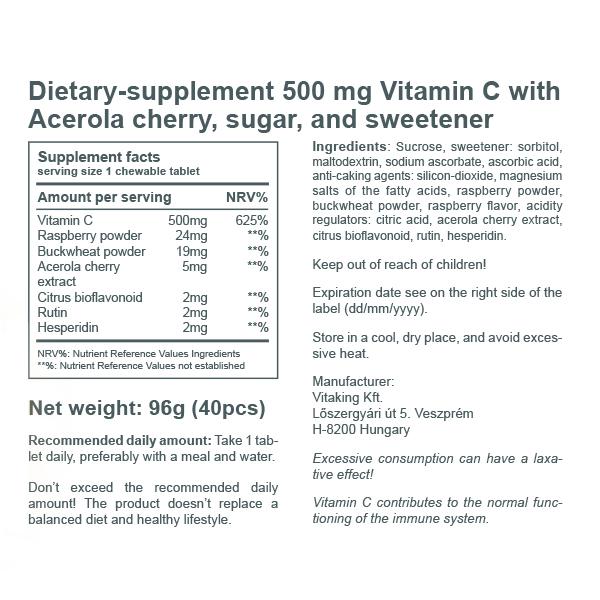 Acerola Vitamin C-500 - rapsberry flavour