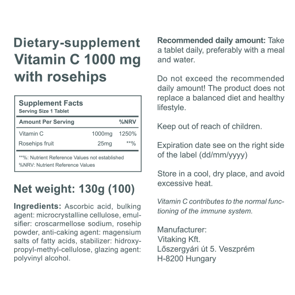 Vitamin C 1000mg with rosehips (100)