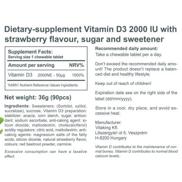 Vitamin D3 2000IU Strawberry-flavoured (90)