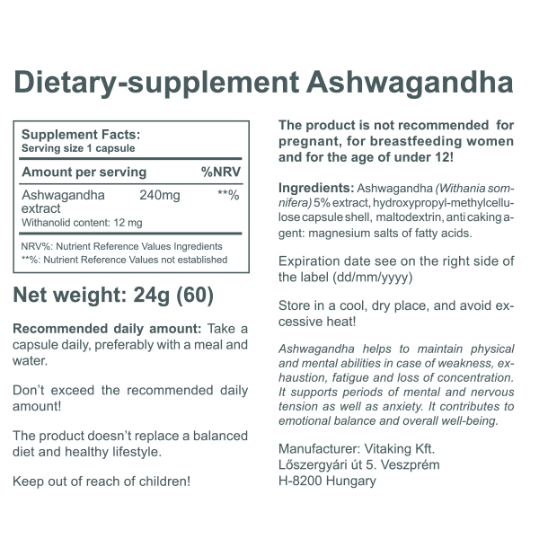 Ashwagandha extract (240mg)